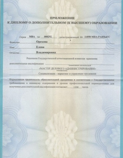 Е. Орехова - МВА Application