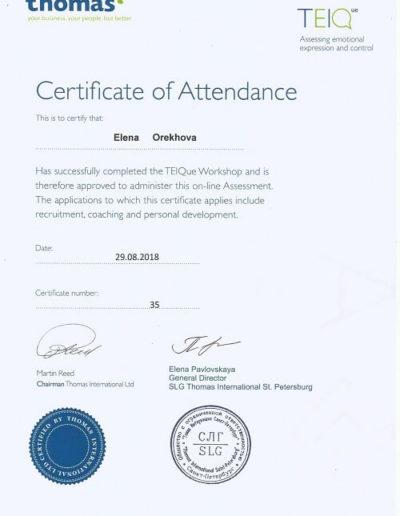 Е. Орехова - Сертификат Thomas 2018
