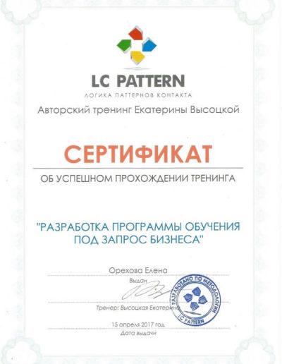 Е. Орехова - Тренинг под запрос бизнеса LCP Сертифика